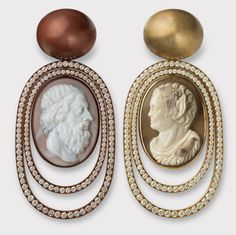 Hemmerle diamonds - cameos - white gold - copper - brass