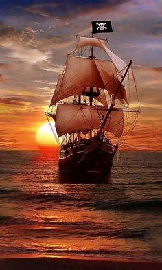 Pirateship Sailing on the Evening Sea,