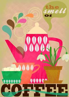 SPRING SALE the smell of coffee-art print