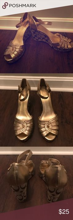 Coach platform shoes Gold - brown - tan - signature Coach platform wedges Coach Shoes Wedges