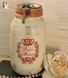 Paris Hotel Mason Jar Tealight Candle Holder Country French Decor - Wedding candles and holders (*Amazon Partner-Link)
