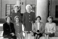 Lady Bird Johnson, Pat Nixon, Rosalynn Carter, Betty Ford (front row, left to right), Nancy Reagan, and Barbara Bush (standing, left to right) at the dedication of the Ronald Reagan Presidential Library in November 1991.