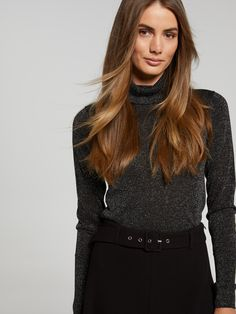 Make an entrance in our statement Luna Lurex Turtleneck Knit, Lurex yarn * Turtleneck * Fitted body Great under a blazer with pants or wear back withskinny jeans and heels for a night out. Belts For Women, Work Wear, Night Out, Knitwear, Ruffle Blouse, Turtle Neck, Skinny Jeans, Blazer, Knitting