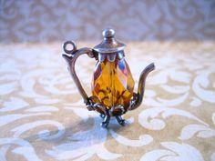 Vintage Sterling Silver Tea Pot w Amber CRYSTAL by charmingellie, $28.00