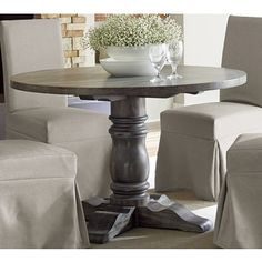 Muses Grey Finish Round Dining Table | Overstock.com Shopping - The Best Deals on Dining Tables