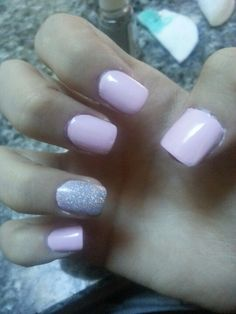 (My Nails) in pale pink and glitter silver