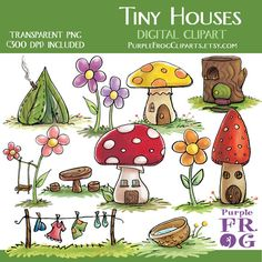 TINY HOUSES - Digital Clipart Set by Purple Frog on Etsy