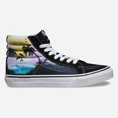 Vans Dolphin Beach SK8-Hi Slim Womens Shoes ($65) ❤ liked on Polyvore featuring shoes, sneakers, black combo, beach shoes, black high-top sneakers, vans trainers, black sneakers and lace up high top sneakers