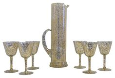 Gold and white speckled barware, midcentury, by West Va Glass.