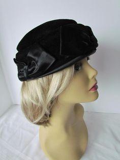 Black+Velvet+Pillbox+Fascinator+Hat++Satin+by+WhyWeLoveThePast,+$44,50