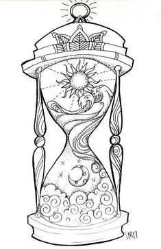 Hourglass small art print day in the night, night in the day. Tijd i . - Hourglass small art print Day in the night, night in the day. Tijd is relieved. I think - Adult Coloring Book Pages, Colouring Pages, Coloring Books, Mandala Coloring, Zentangle, Datum Tattoo, Geometric Tatto, Art Du Croquis, Art Drawings Sketches