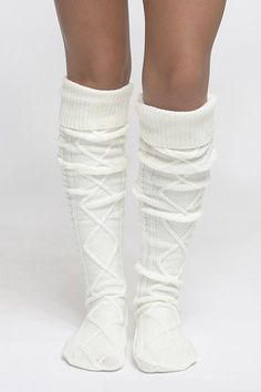 """Diamond cable knit knee/thigh high boot socks with foldover band. Sizing: One size fits most (approximately women's shoe size 6-11) Measurements: Approximately 26"""" from heel to top of sock Top cuff ca"""