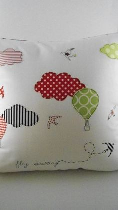 Fly away Appliqued Pillow Cover 16x16'' Off white by nenimav. €25,00, via Etsy.