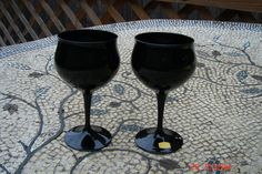 """Pair of Black Glass Crystal Goblets, 3"""" w at top, 3¼"""" at widest part of bowl x 6¼"""" tall. $28.50/pr at DaisVIntageTreasures on etsy, 3/21/16"""