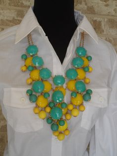 Layered Turquoise Blue & Yelllow Bubble Statement Necklace