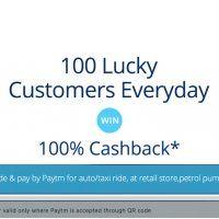 Paytm 100% Cashback on QR Code Scan on Retail Stores Offer