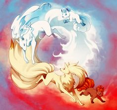 Vulpix and Ninetails and Alolan Vulpix and Ninetails