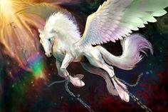 Pegasus breaking its chains
