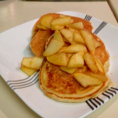 Lactose free pancakes with golden delicious apples (used lactaid milk!)