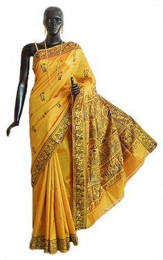 Golden Yellow Baluachari Silk Saree with All-Over Boota and Woven Mahabharata Scene on the Pallu and Border (Silk))