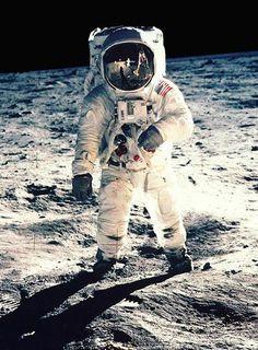 Edwin Aldrin en la luna, foto por Neil Armstrong, 1969