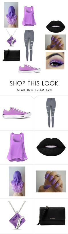 """Bonnie FNAF"" by mychristapie on Polyvore featuring Converse, Topshop, Lime Crime, Miadora and Michael Kors"