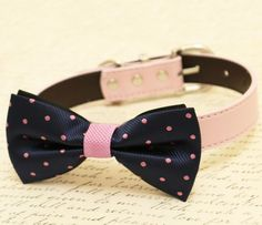 Navy and Lavender dog bow tie, Bow tie attached to dog collar, Navy Wedding,Pet wedding accessory,dog birthdgay gift, some thing blue,collar