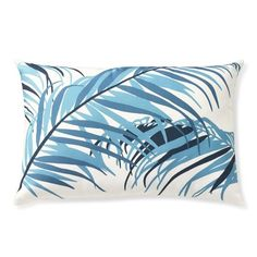 Outdoor Printed Tropical Palm Pillow, Sky Blue #williamssonoma