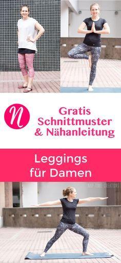 Freebook: Damen-Leggings - Kostenloses Schnittmuster & Nähanleitung ❤ XS - XXL ❤ Nähtalente - Magazin für kostenlose Schnittmuster ❤ Sew your own Leggings with this great free sewing pattern for woman. Size XS - XXL
