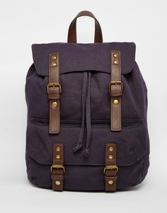 Image 1 of ASOS Smart Canvas Backpack In Navy