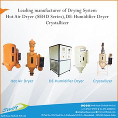 """  We at Swift Auxi Technik Pvt Ltd is leading manufacturer of Drying System. We have three types of drying systems.   1. Hot Air Dryer (SEHD Series) 2. DE-Humidifier Dryer 3.Crystallizer #HotAirDryer #DeHumidifierDryer #Crystallizer #AirChiller #AirChillerWater  W:http://www.swiftauxi.com/ M:+91 97247 97978 E:swifttechpvtltd@gmail.com"