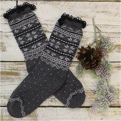 EDELWEISS lace walking socks - grey