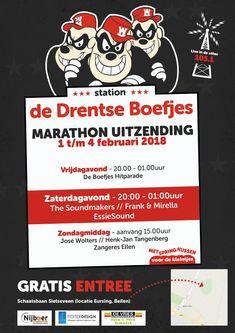 Station De Drentse Boefjes Marathonuitzending van 1 t/m 4 februari 2018. Vrijdagavond de Boefjes Hitparade. Op zaterdagavond livemuziek van The Soundmakers, Frank En Mirella en EssieSound. En op zondagmiddag livemuziek van José Wolters, Henk-Jan Tangenberg en Zangeres Ellen. https://koopplein.nl/middendrenthe/15040543/de-drentse-boefjes-draaien-van-1-tm-4-februari-2018.html