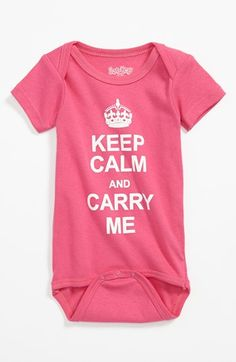 Free shipping and returns on Sara Kety Baby & Kids 'Keep Calm' Bodysuit (Baby Girls) at Nordstrom.com. A comfy cotton bodysuit sports a clever twist on a familiar slogan.