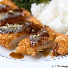 Pork katsu and tonkatsu sauce (Japanese breaded pork and dipping sauce)