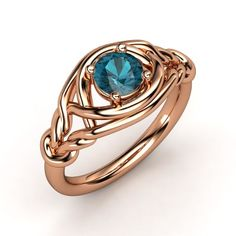Round London Blue Topaz 14K Rose Gold Ring | Basira Ring (6mm gem) | Gemvara--The lacy wires that look like knotted ropes are so gorgeous.
