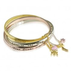 Disney Couture Icon Collection Linked Slogan Bangle Set with Tinkerbell Charms