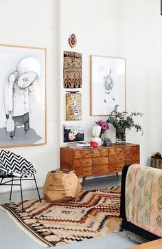 Boho living room decor idea