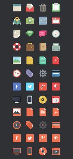 Gratis: 48 Iconos Flat (AI, PNG)