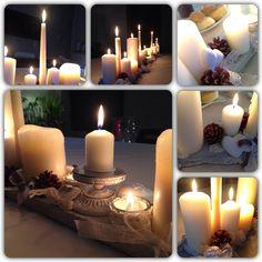 Centrotavola di Natale  DIY  con candele, gessi profumati e fiocchi.❤️