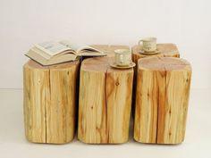 6 wooden blocks table a set of tree trunks Baumstumpf baumstamm tisch sgabello ceppo di legno