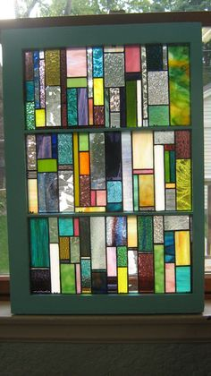 Vintage Wooden Window with stained glass by stanfordglassshop, $333.00 Various sizes might work in living in place of door.