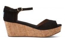 LOVE LOVE LOVE #Toms Black Suede Women's Platform Wedges