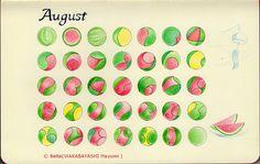 2013 August Calendar.   For this piece I used: Sakura Pigma, Faber-Castell, and Moleskine sketchbook.  © Belta(WAKABAYASHI Mayumi)