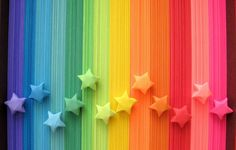 Rainbow Origami Paper Stars