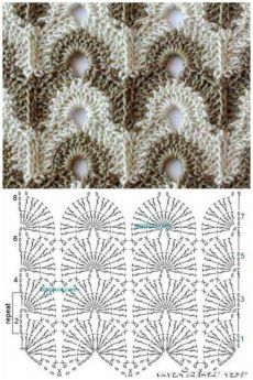 Wavy openwork pattern for knitting by a hook - SalvabraniIrish lace, crochet, crochet patterns, clothing and decorations for the house, crocheted.Image gallery – Page 408983209906656739 – Artofit Débardeurs Au Crochet, Pull Crochet, Crochet Ripple, Crochet Motifs, Afghan Crochet Patterns, Crochet Squares, Knitting Patterns, Granny Squares, Crochet Gloves