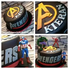 Avengers themed cake with the figures that were purchased from the Disney store Witch Cake, Birthday Ideas, Birthday Cake, Cake Business, Kitchen Witch, Catering, Cake Decorating, Avengers, Cakes