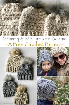 Mommy & Me Fireside Beanie- a free crochet pattern in 4 sizes Our sweet little girl, Audrey is a huge inspiration for me when it comes to creating patterns.Her love for all the things I make is also a hug… Crochet Adult Hat, Bonnet Crochet, Crochet Beanie Pattern, Crochet Flower Patterns, Crochet For Kids, Crochet Flowers, Crochet Baby, Crocheted Hats, Slouchy Beanie Pattern