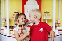 A gorgeous Ice Cream Social birthday party, perfect as a boy/girl shared birthday!