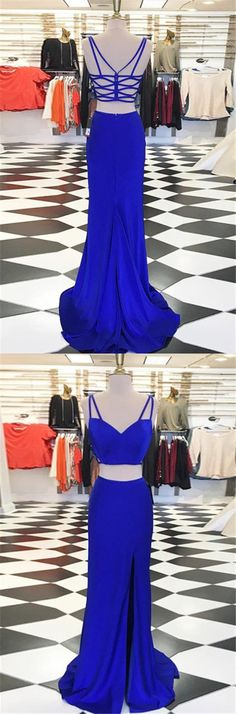 Prom Dresses Beautiful, Two Piece V-Neck Sweep Train Split Criss-Cross Straps Royal Blue Prom Dress, Looking for the perfect prom dress to shine on your big night? Prom Dresses 2020 collection offers a variety of stunning, stylish ball. Senior Prom Dresses, Prom Dresses For Teens, Prom Dresses 2017, Long Prom Gowns, Cheap Prom Dresses, Dress Prom, Prom Long, Evening Dresses, Party Dresses